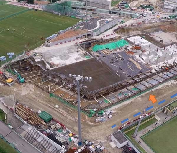 Construction site at Happy Valley Recreation Ground, showing widespread construction work as soccer pitches and changing rooms are rebuilt and a new reservoir is created underneath