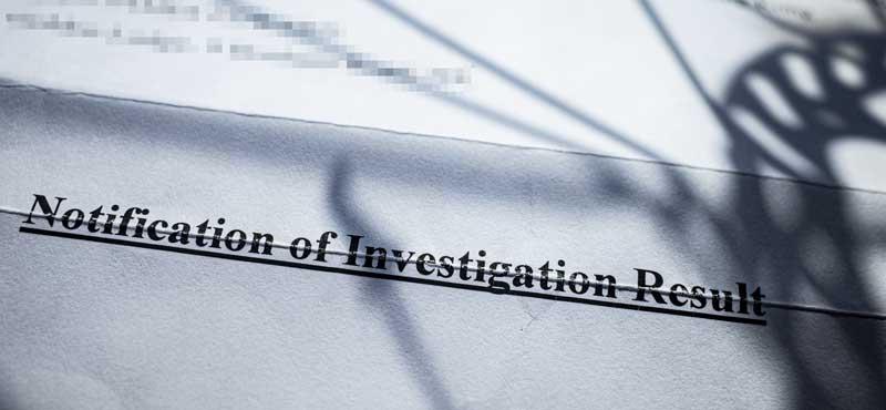 Police letter outlining investigation result