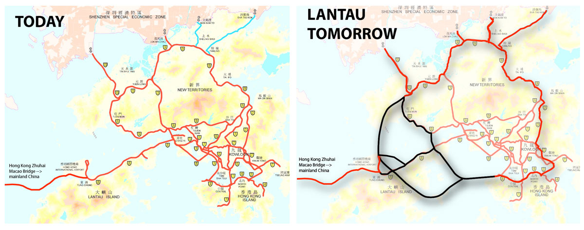Two maps side by side showing the road layouts of Hong Kong, before the ring road project and after the Lantau Tomorrow ring road project is completed