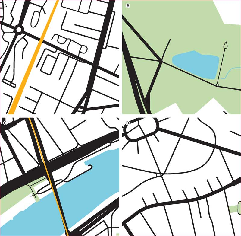 Four sample graphics from a University of Melbourne study into city layout, each showing a simple graphical map representation of a part of Paris