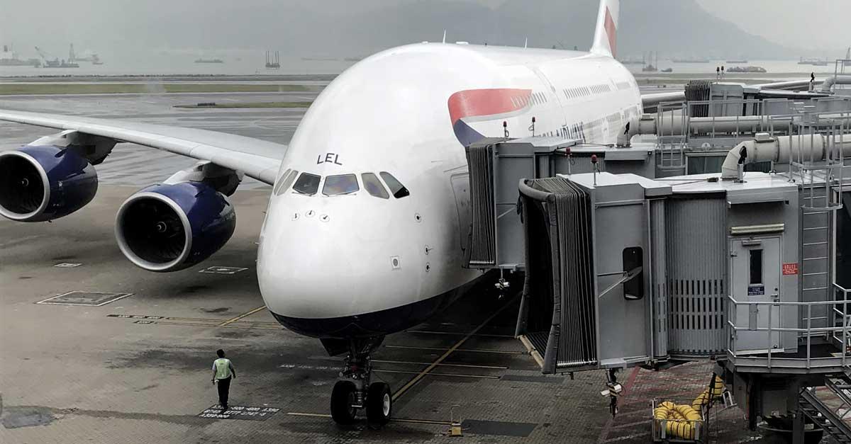 A British Airways A380 at Hong Kong International Airport