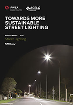Cover of the Australasian Public Works Association guidance note on sustainable street lighting, a black cover with a picture of twinkling street lights