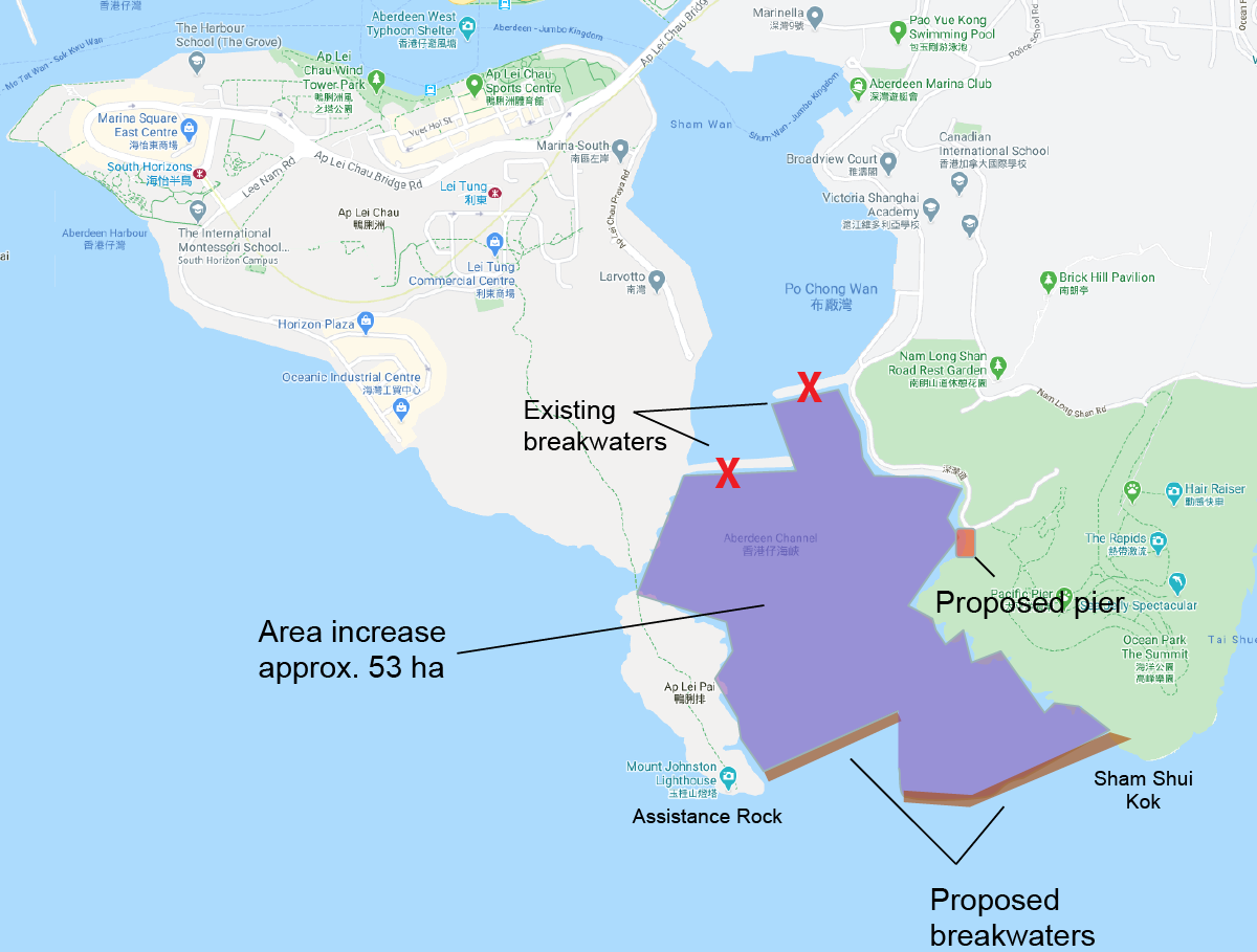 Map plan of a new harbour proposal, taking out two old breakwaters and adding two new breakwaters further south - map shows Ap Lei Chau, Aberdeen and Ap Lei Poi in Hong Kong