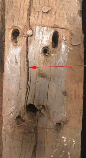 A rotten plank of wood - in fact it's a sleeper used by MTR in its East Rail Line tracks. The rotten sleepers were likely the cause of a derailment accident