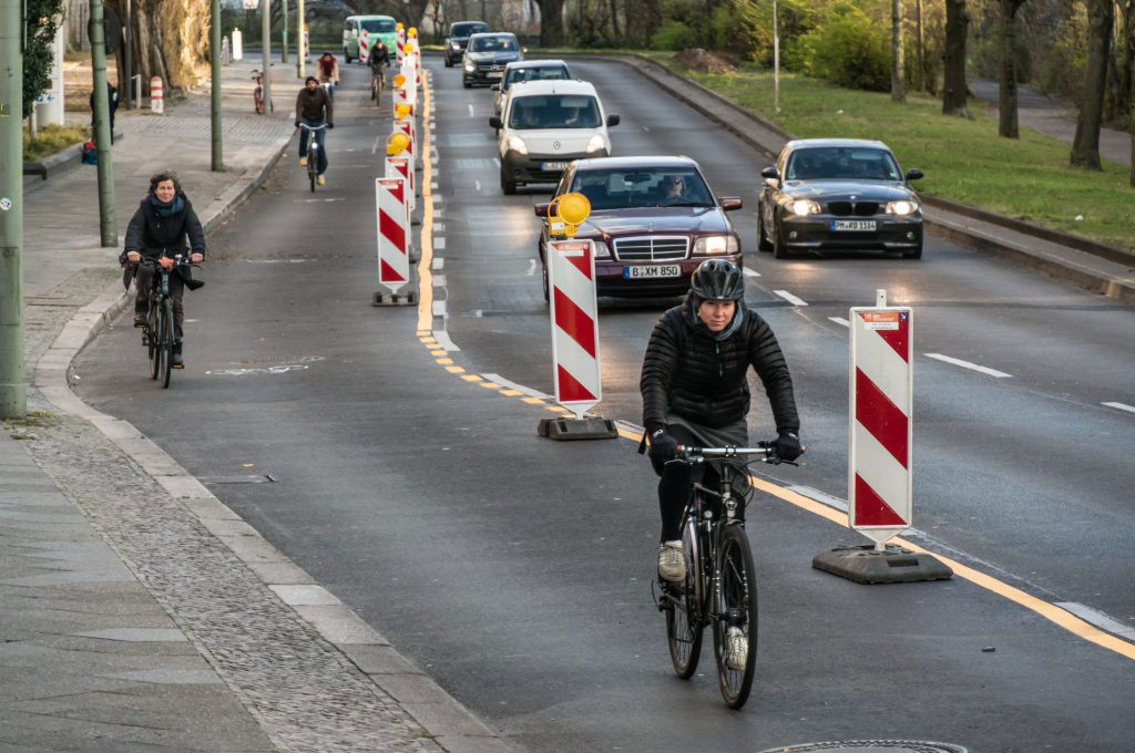 Cyclists in a temporary protected cycle lane in Berlin