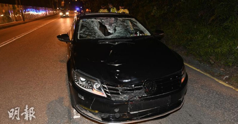 The smashed up front of a VW Passat which, speeding, hit and killed a runner
