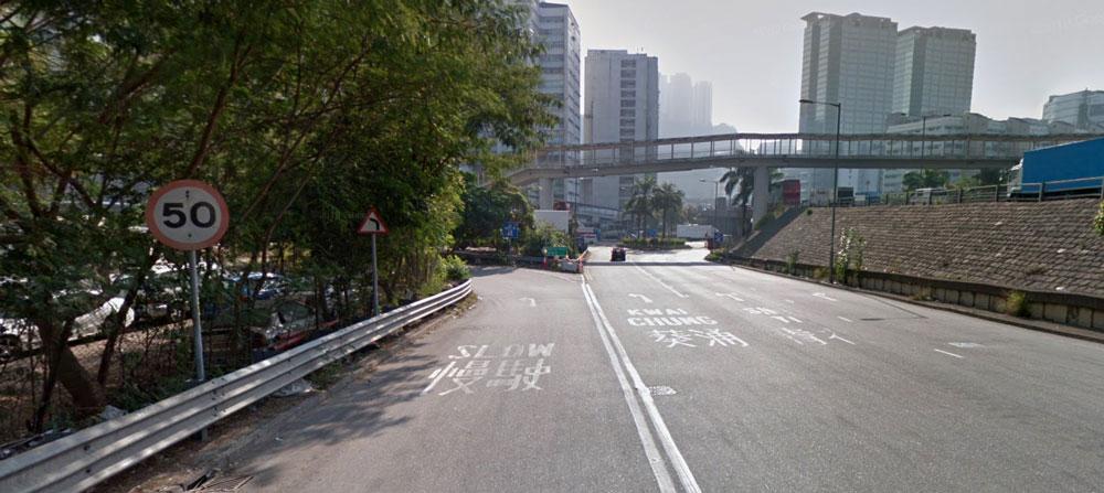 A highway exit in Hong Kong, near Tsing Yi