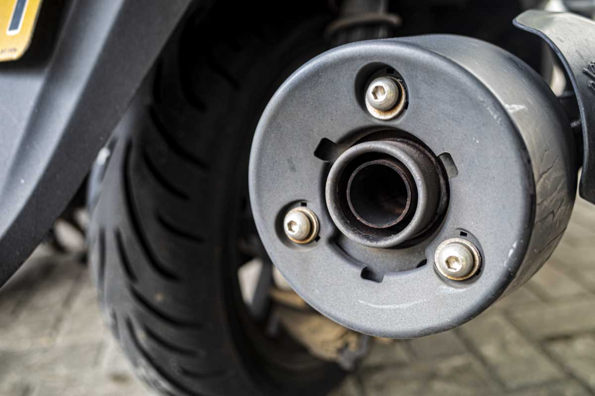 Close-up of a scooter exhaust