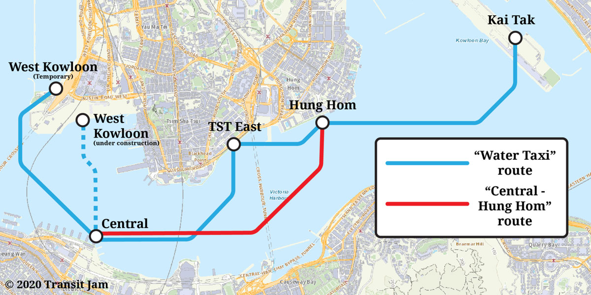 A map by Transit Jam of the new Water Taxi service announced by the government of Hong Kong