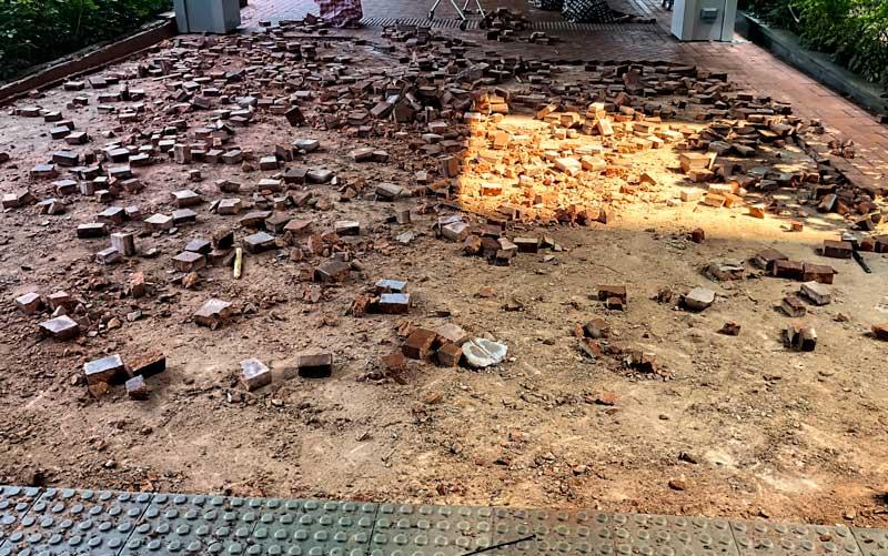 bricks torn up at Hong Kong University during protests in 2019