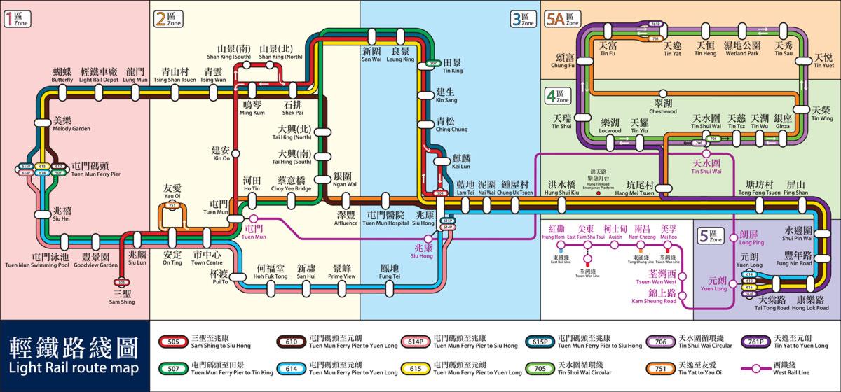 Map of Hong Kong's Light Rail