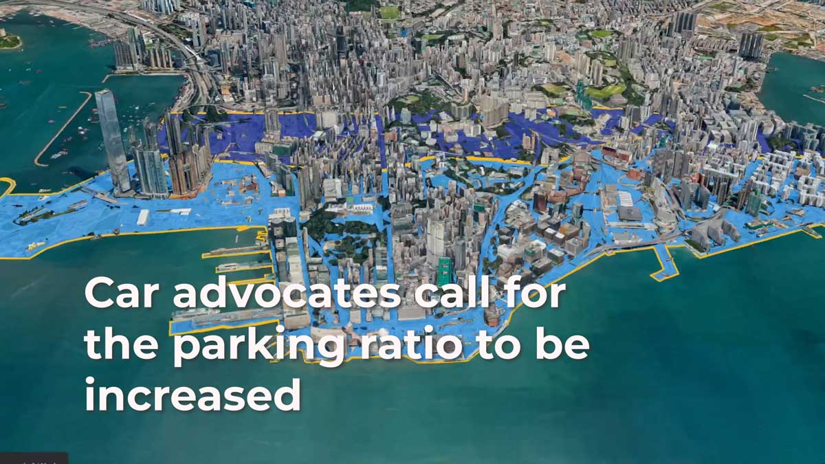A view of Hong Kong from above showing how much space car parking takes up