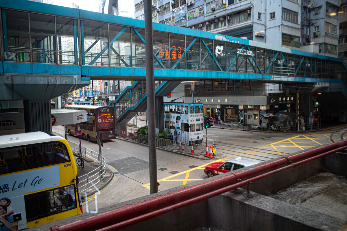 A footbridge over a busy road in Hong Kong's Causeway Bay