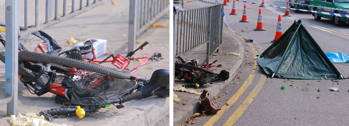A mangled bike at the scene (left) and (right), a tent placed over the victim's body